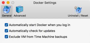 Bildschirmfoto der Docker-Einstellungen