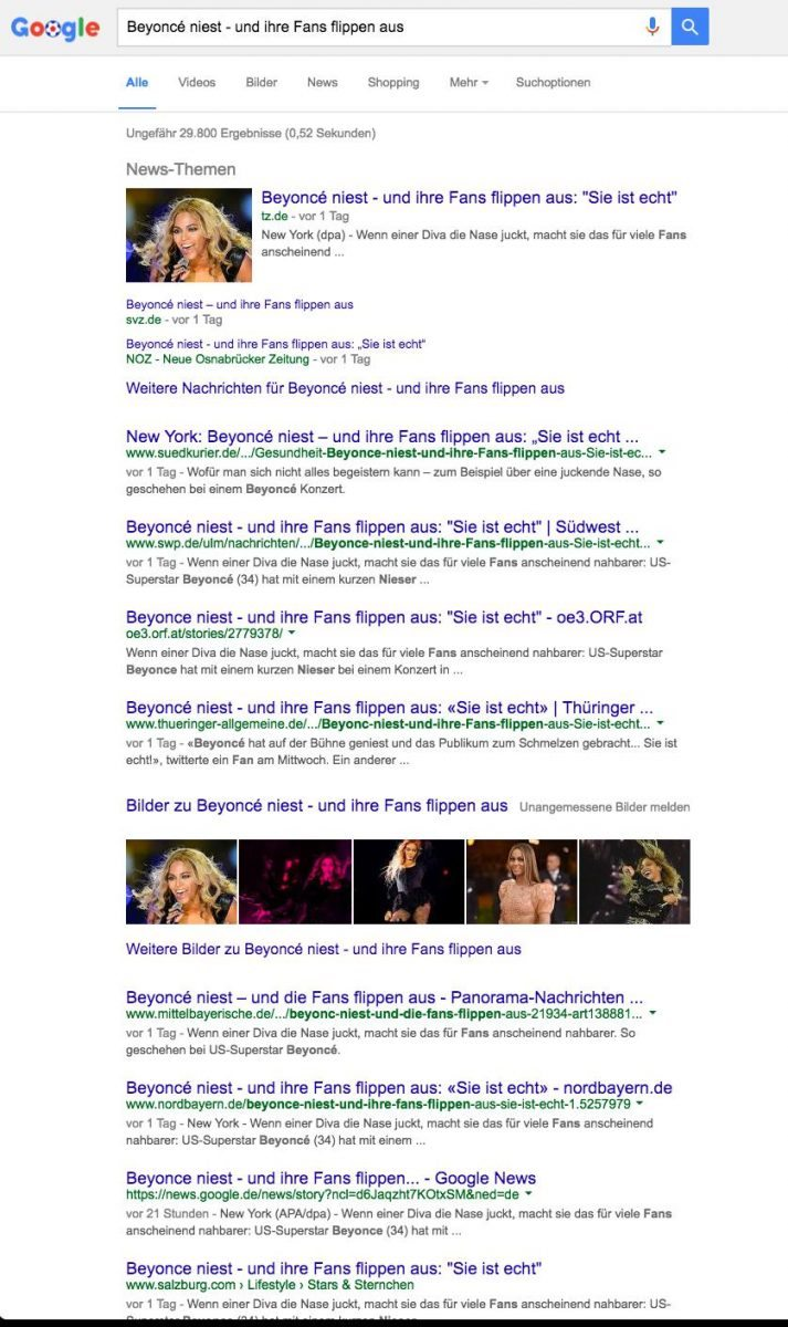"""Bildschirmfoto eines Google-Suchergebnisses mit dem Term """"Beyonce niest"""""""