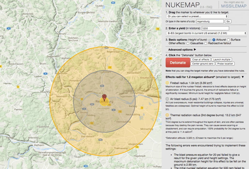 Screenshot der NUKEMAP