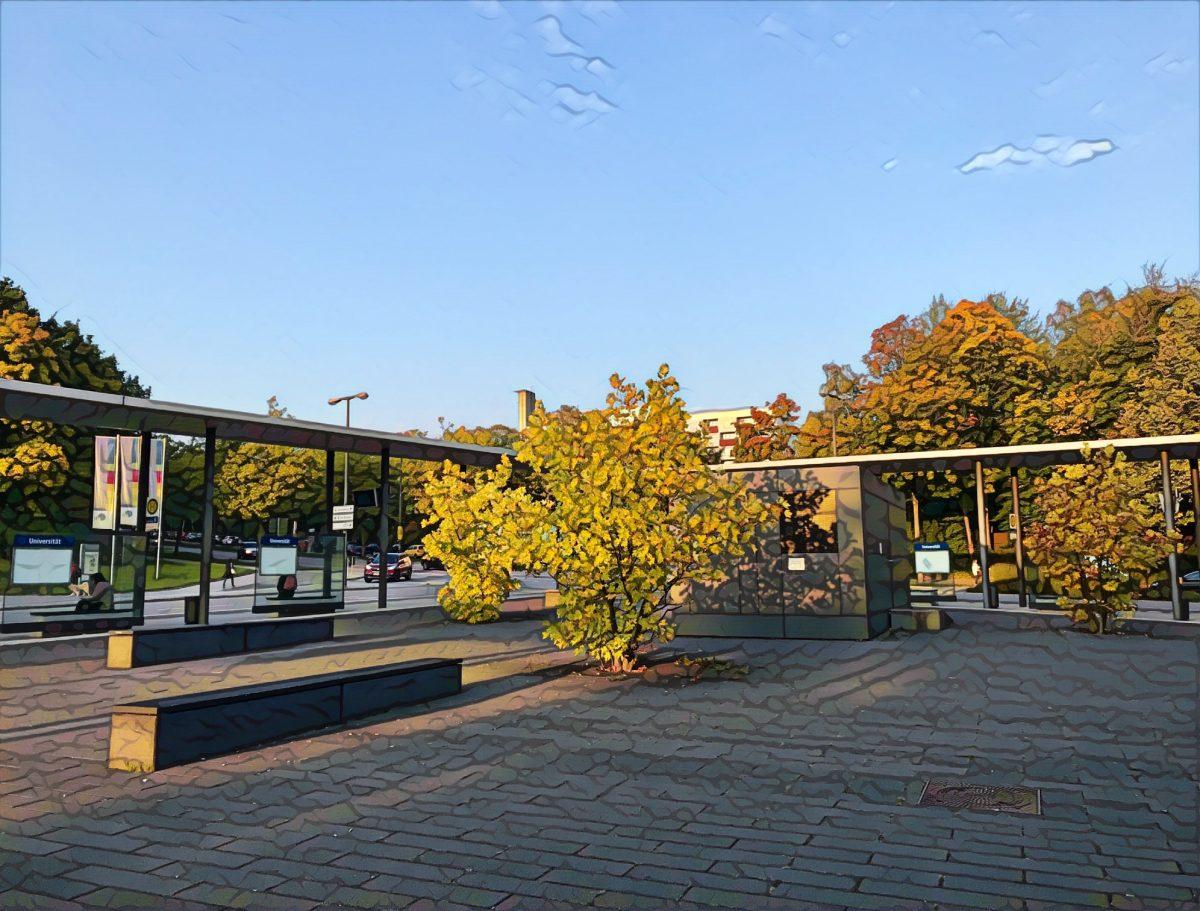 Universität Regensburg Busbahnhof, Morgenansicht, mit Buntstiften gezeichnet